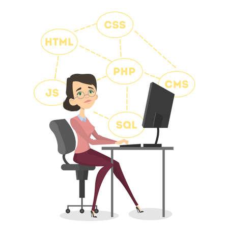 Isolated happy female programmer sitting.