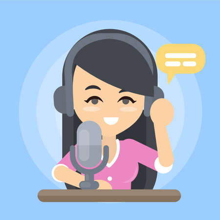 Radio show presenter with headset and microphone.