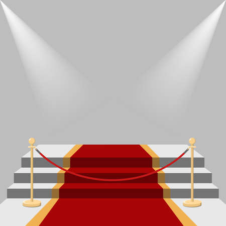 Red carpet and podium with light on white.