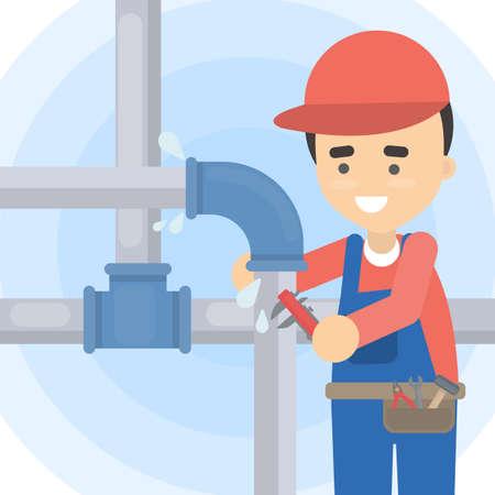 Reparatie van leidingen. Loodgieter met gereedschap repareren.