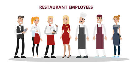 Restaurant employees set. Chef, manager and waiter Illustration