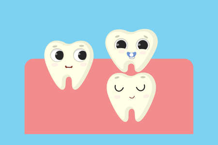 New milk tooth illustration. Vectores