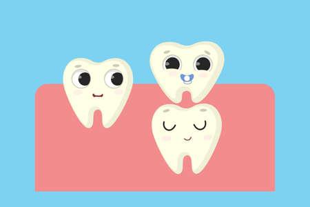 New milk tooth illustration.