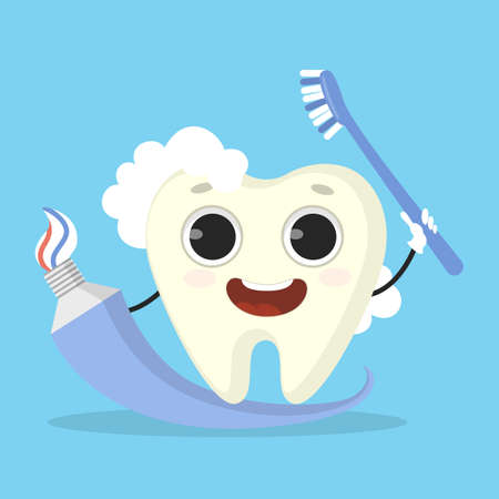 Tooth with paste illustration.