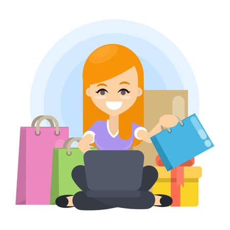 Woman loves shopping illustration. Illustration