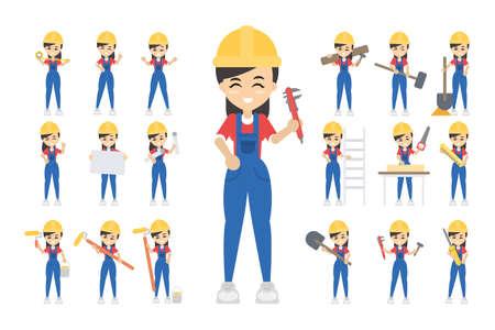 Construction worker set illustration.