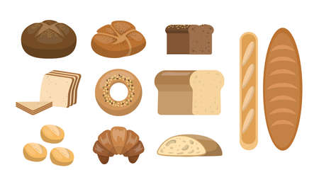 Different bread set. Loaf and bagel, bun and baguette.