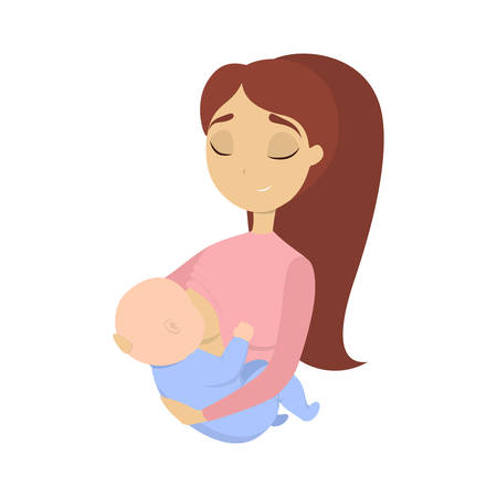 Woman breastfeeding baby on hands on white background.