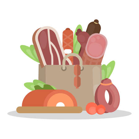Meat products bag with ham and sausages, beef and pork. Illustration