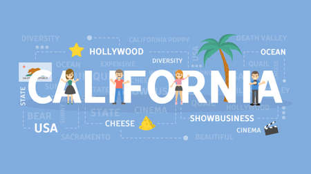 Welcome to California. Visit american state with cinema production.  イラスト・ベクター素材