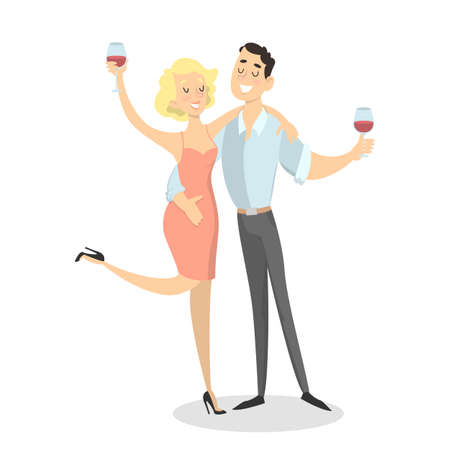 Isolated drunk couple with wine glasses on white. Çizim