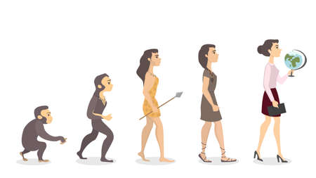 Evolution of teacher. From monkey to female teacher with globe.