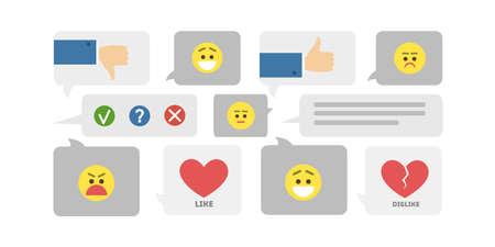 Feedback icons set. Smileys and likes, hearts and thumbs up. Illusztráció