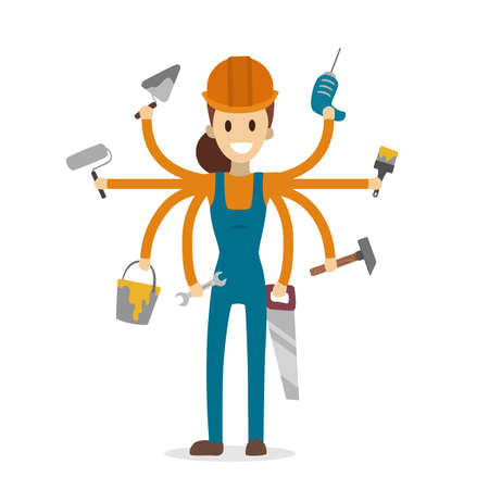 Multitasking construction worker with six hands on white. Illustration