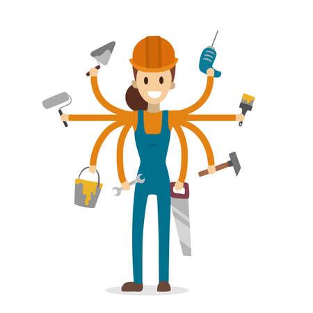 Pracownik budowlany wielozadaniowy z sześcioma rękami na białym tle.