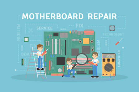 Motherboard repair service concept template design