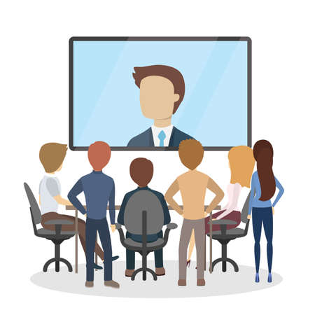 Online conference at office. Иллюстрация