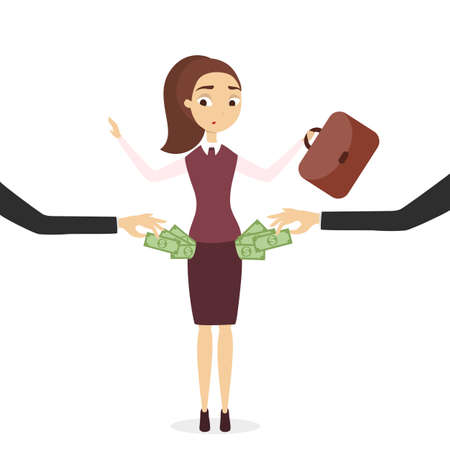 Plunder of money from businesswoman pockets. Sad and threated woman.