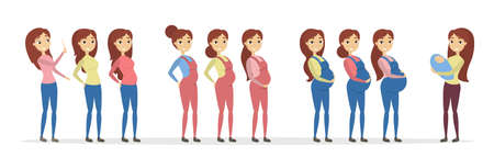 Stages of pregnancy. Young mother with belly. Stock Illustratie