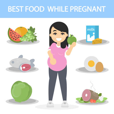 Diet for pregnancy. Woman with food items. Illustration