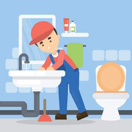 Repair of pipes. Plumber with tools repairing in bathroom. Illustration