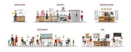 Restaurant interior set with people sitting, kitchen and bar on white.