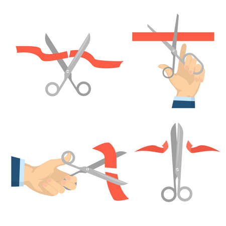 Cutting red ribbon with scissors in hands set Illustration