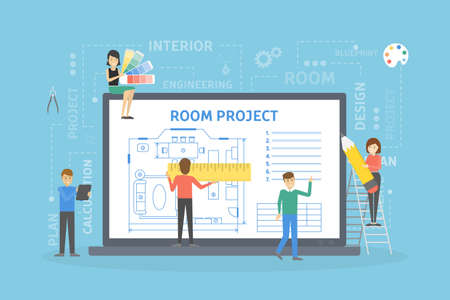 Room project plan on computer screen with people.