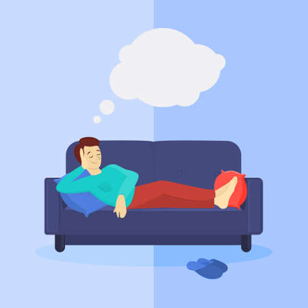 Man on sofa laying and dreaming. White bubble. Illustration