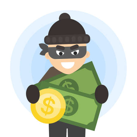 Thief with money in black mask on white.