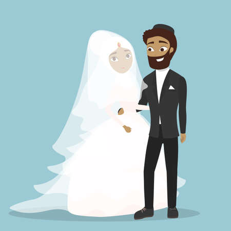 Arab wedding couple. Man and woman in traditional clothes.