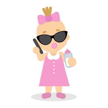 Babymeisje spelen in volwassen zakenvrouw met zonnebril en smartphone. Stockfoto - 94889950