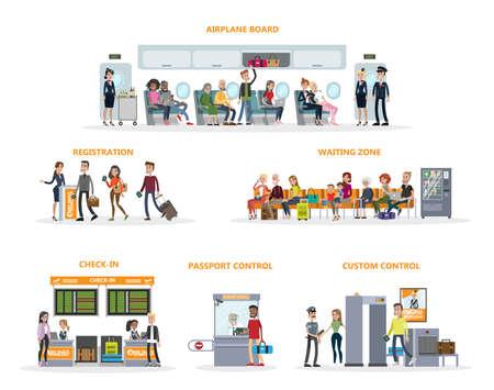 Persone all'aeroporto con terminal e bagagli su sfondo bianco.