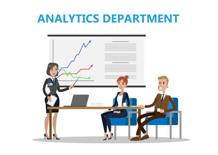 Analytics department office. Businesswoman shows presentation to others on white background.