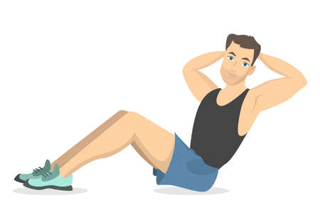 Man doing sit-ups. Fitness exercise on white background.