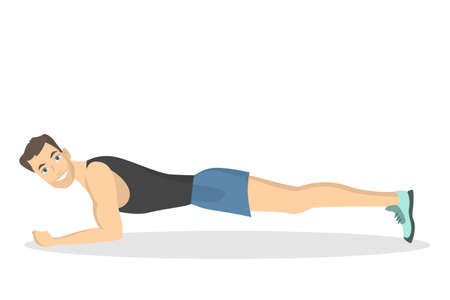 Man doing plank. Fitness exercise on white background. Vectores