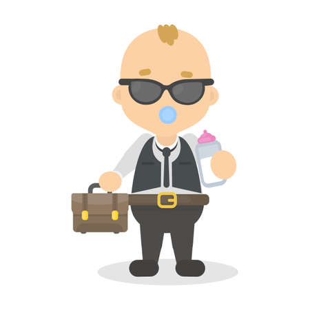 Baby boy boss with briefcase and milk bottle on white.