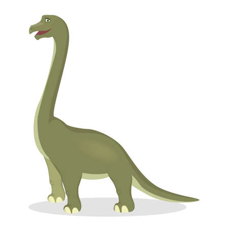 Brontosaurus dinosaur isolated ancient creature on white. Vectores