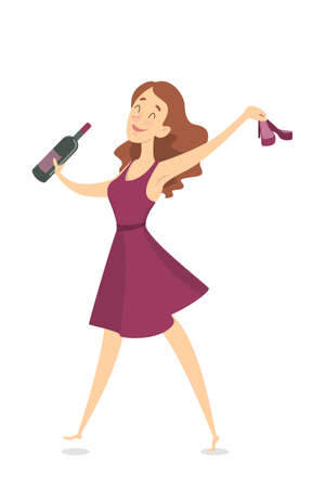 Isolated drunk woman having fun with wine bottle. Stock Illustratie