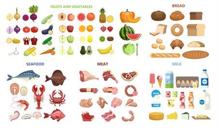 Cały zestaw żywności. Owoce i warzywa, mięso i nabiał, owoce morza i pieczywo.
