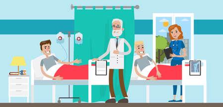 환자와 의사가 검사와 병원에서 병동.