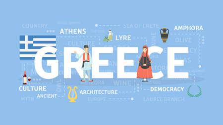 Welcome to Greece. Visit mediterranean culture and architecture. Illustration