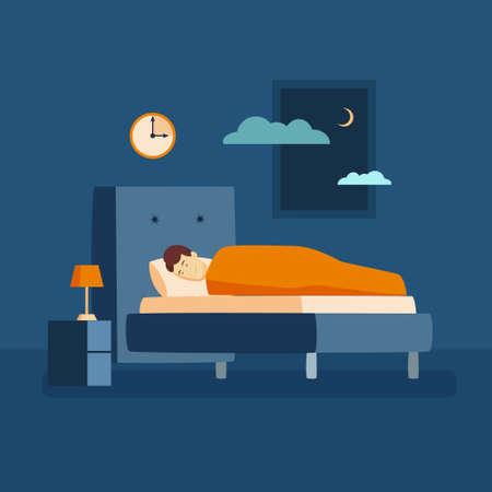 Man sleep at night.