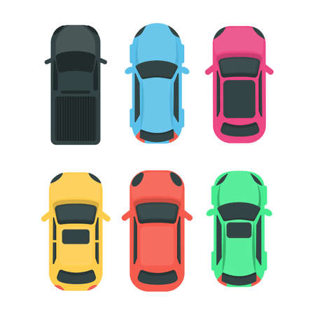 Colorful cars top view illustration.