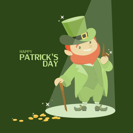 St. Patricks day on green background with leprechaun and coins.