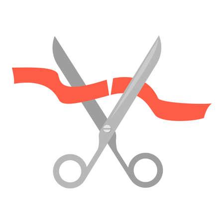 Nożyczki do cięcia pomarańczową wstążką ilustracja.