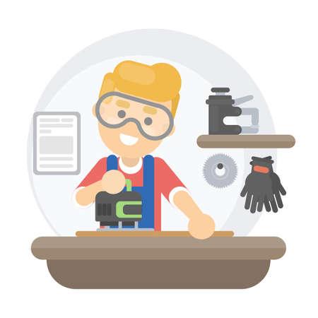Isolated carpenter illustration.