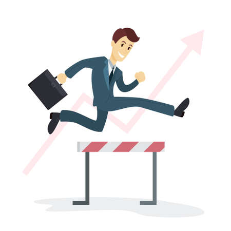 Businessman jumping hurdles. Vector illustration. Stock Illustratie