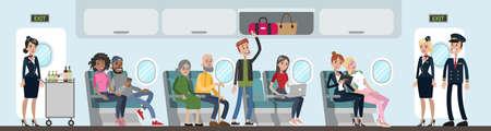 Un grupo de personas en avión. Air-hosts y pasajeros. Un hombre de pie atendiendo equipaje.