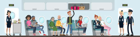 A group of people in airplane. Air-hosts and passengers. A man standing attending to luggage.